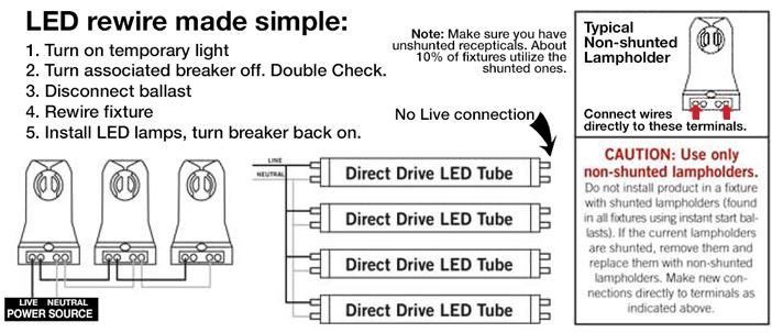 led fixture conversion wire diagram